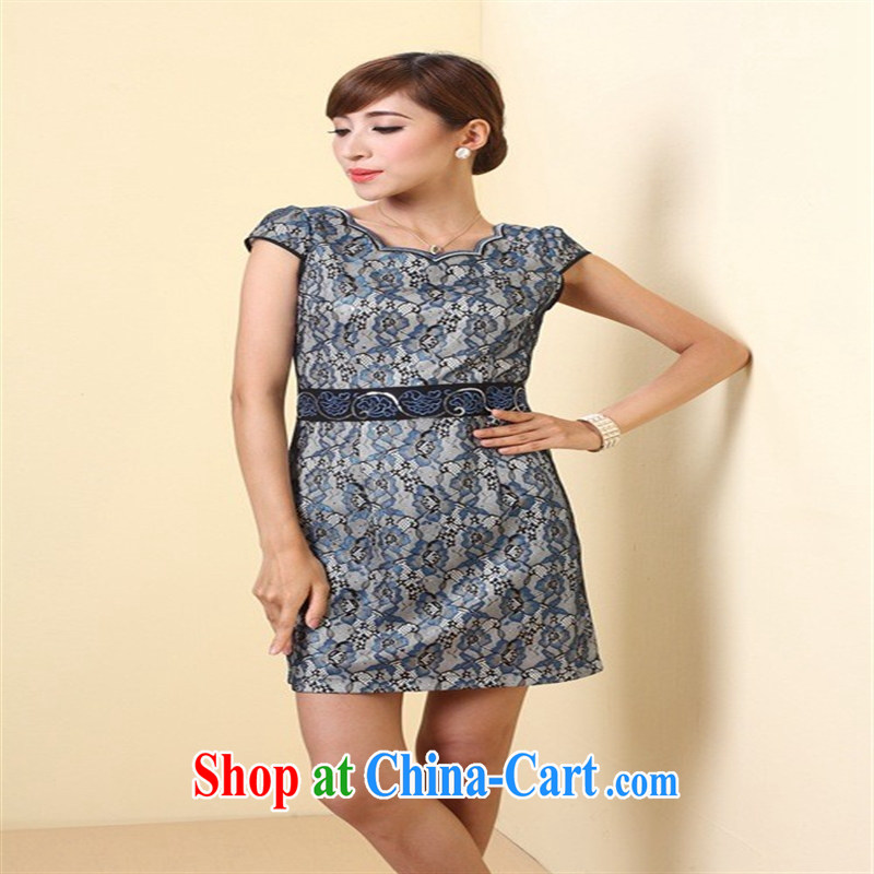 Attachment 2014 improved stylish outfit New short retro women's clothing dresses QD 4247 photo color XXXL