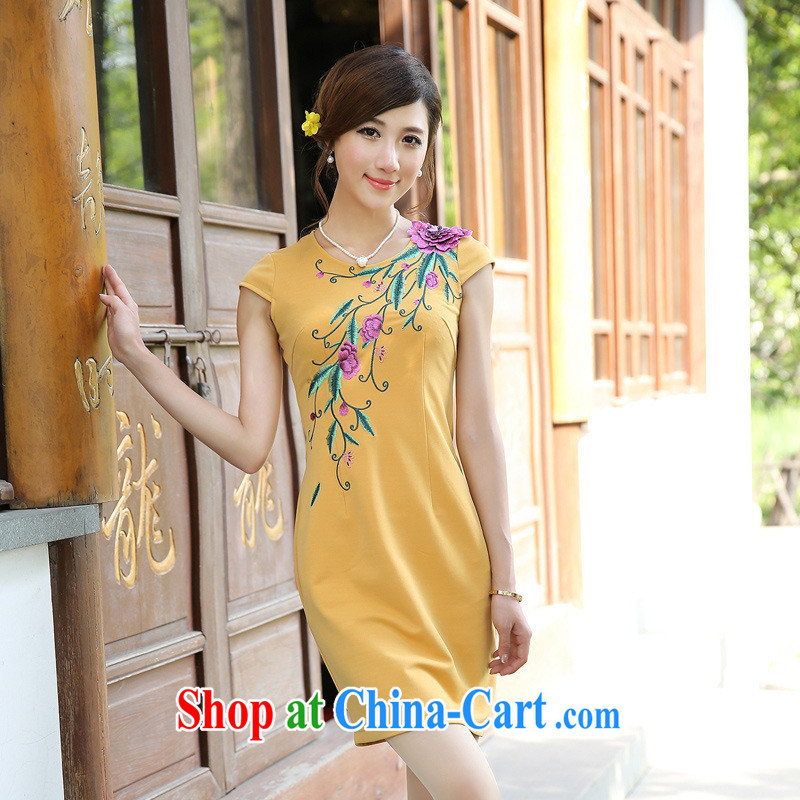 Take sprawl-chih cheongsam/Openwork embroidery antique ethnic wind girls dresses G 13,492 picture color XL