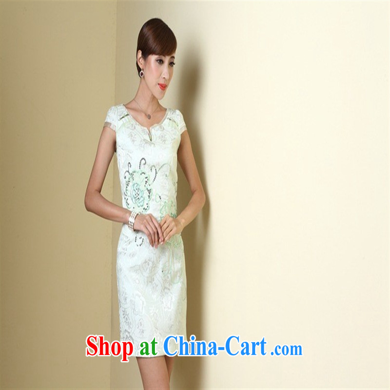 As spring 2014 improved stylish outfit New short retro female dresses QD 4223 white XXL