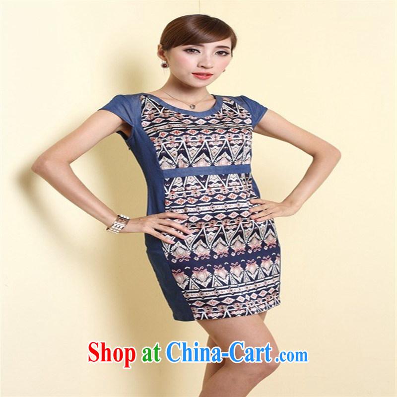 Land, 2014 new waist dress style round-collar stitching retro female QD 4303 blue XL