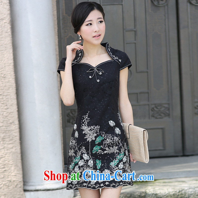 The opening of the flowers at night cheongsam dress 2013 new retro dresses/G 611,313 picture color XL