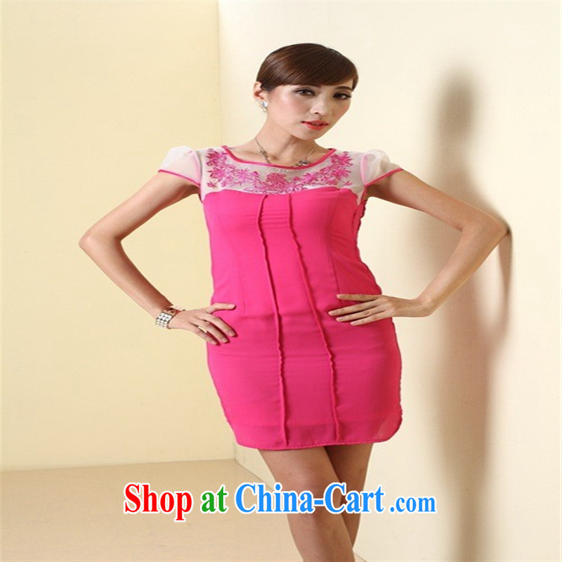 The Hyun, 2014 improved stylish outfit New short retro ladies dress QD of 4306 red XXL