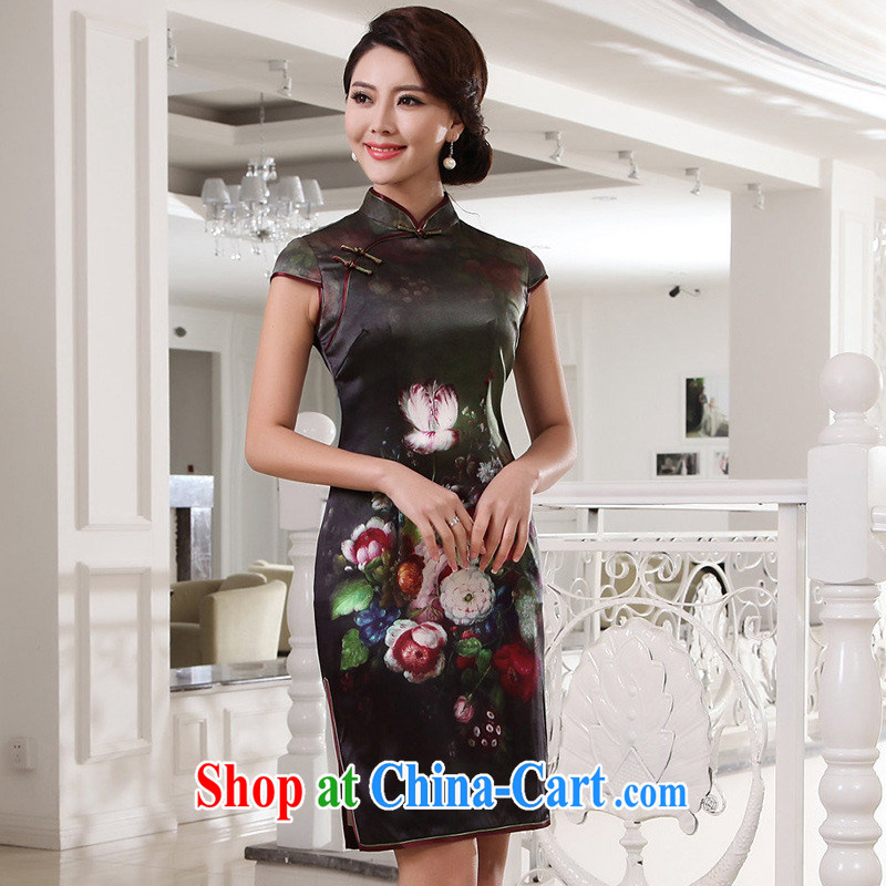 Take high-chan 100 % sauna Silk Cheongsam girls retro Silk Dresses G 13,415 picture color L