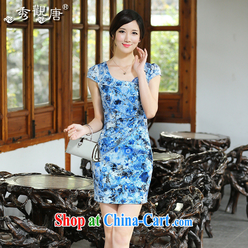 Get shadow blue and white porcelain dresses 2014 new improved cheongsam dress QD 4414 blue XXL