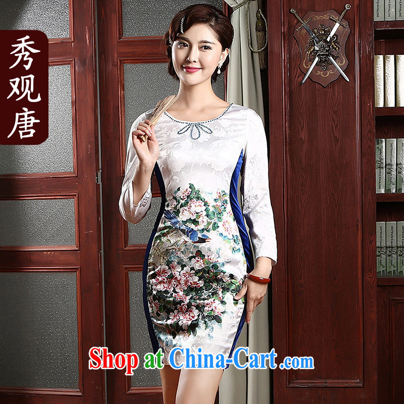 Hi-chih 2014 new cheongsam dress improved stylish daily short cheongsam dress QZ 4741 white XXL