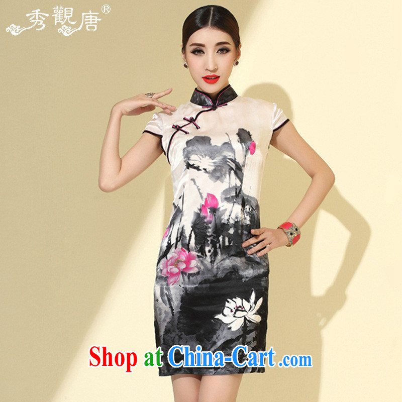 I should be grateful if you would have the 2014 spring and summer New Silk improved cheongsam short skirts dresses QD 4110 white XXL