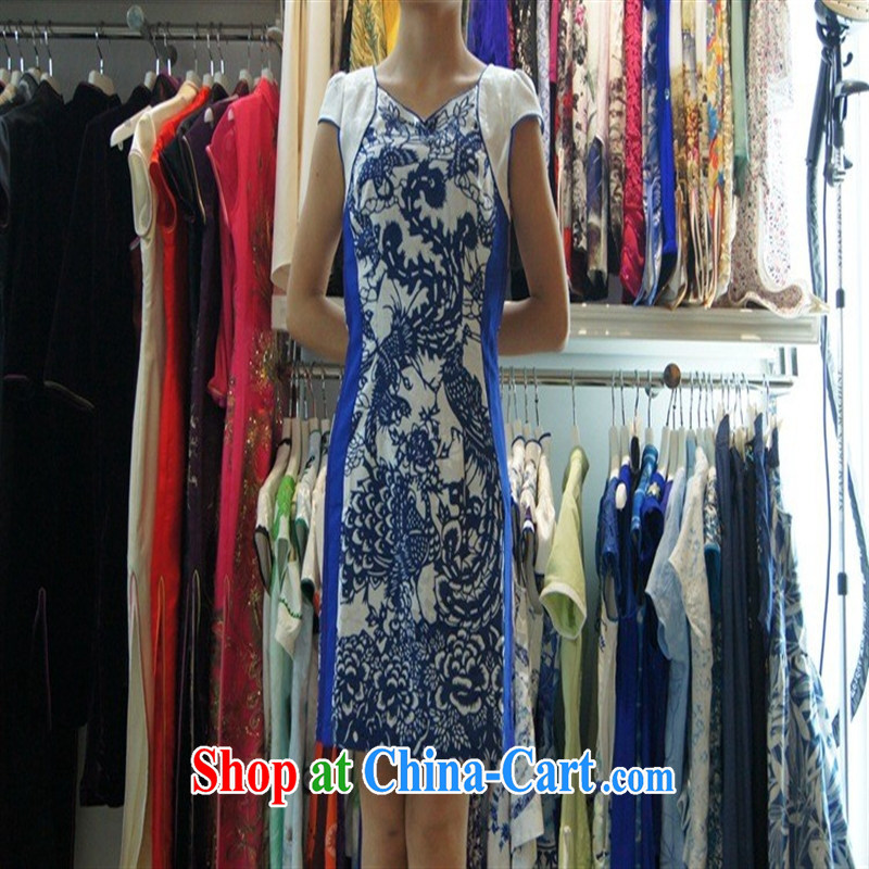 Amy 2014 improved stylish outfit New short retro female dresses QD 4248 blue XXL
