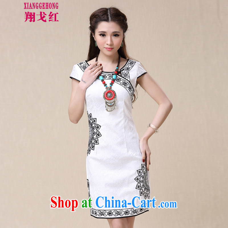 Cheung Al Gore Red Spring 2015 summer China wind National wind female elegant embroidery, cheongsam dress white XXL national free e-mail