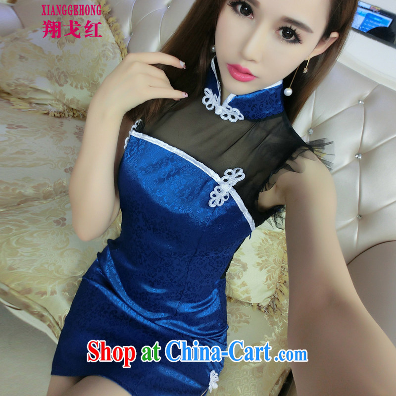 Cheung Gore red sexy 2015 retro Web yarn current forwarding side on the truck cheongsam dress package and back exposed picture color code factory direct