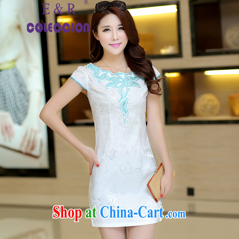 2015 new dresses summer short, cultivating improved embroidery modern day Chinese improved cheongsam white XL