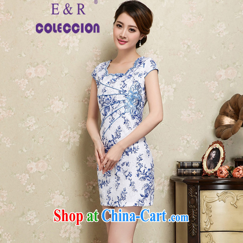 2015 new summer fashion improved elegance antique cheongsam dress beauty daily short cheongsam blue XXL