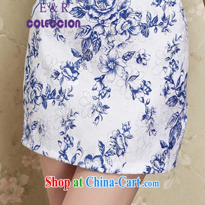 2015 new summer fashion improved elegance antique cheongsam dress beauty daily short cheongsam blue XXL, E &R COLECCION, shopping on the Internet