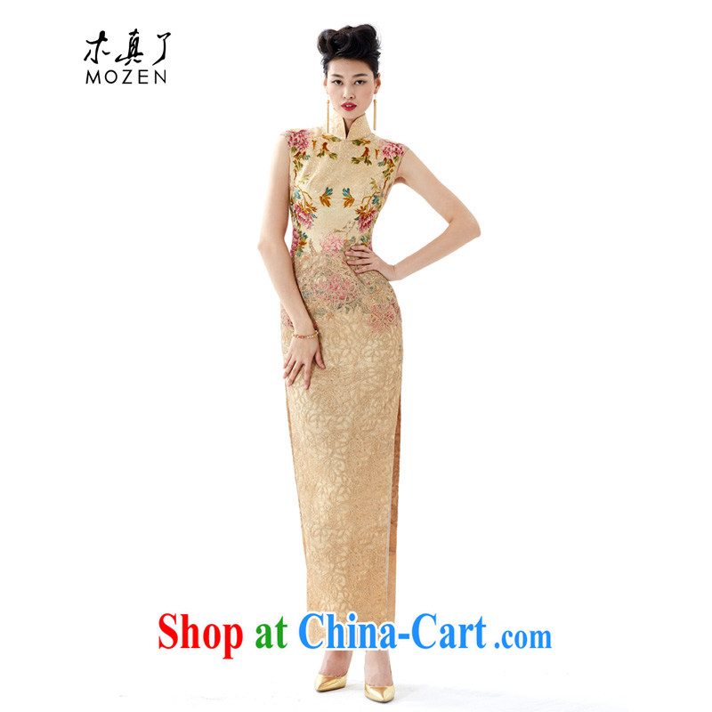 Wood is really a summer 2015 new dress high-end luxury banquet hand embroidery, silk cheongsam dress long, 43,060 13 light yellow XL