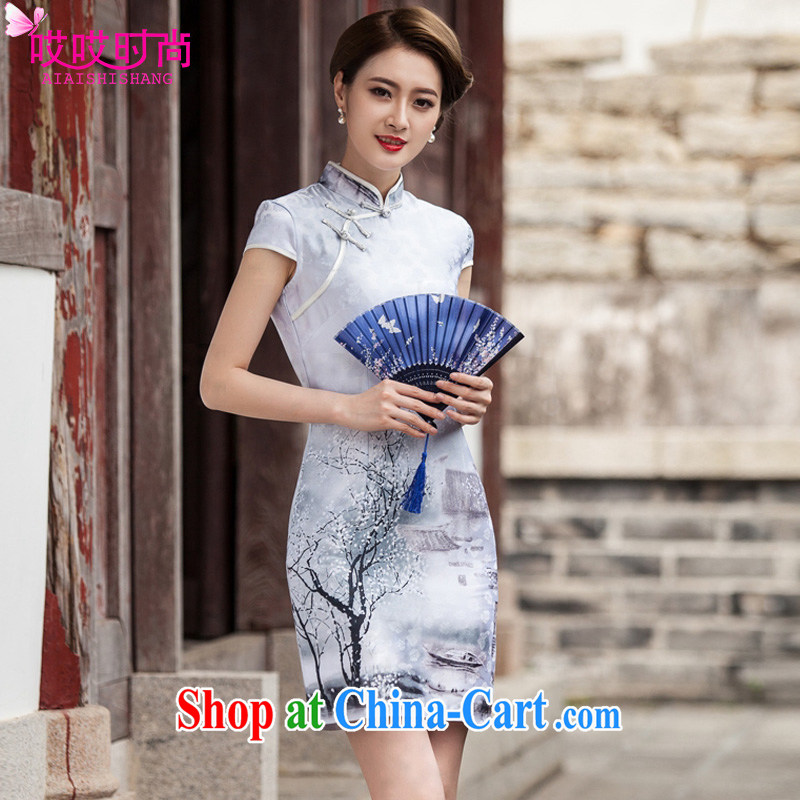 Ah, ah, stylish 2015 summer new female painting classic short-sleeve cheongsam dress paintings 1107 XXL