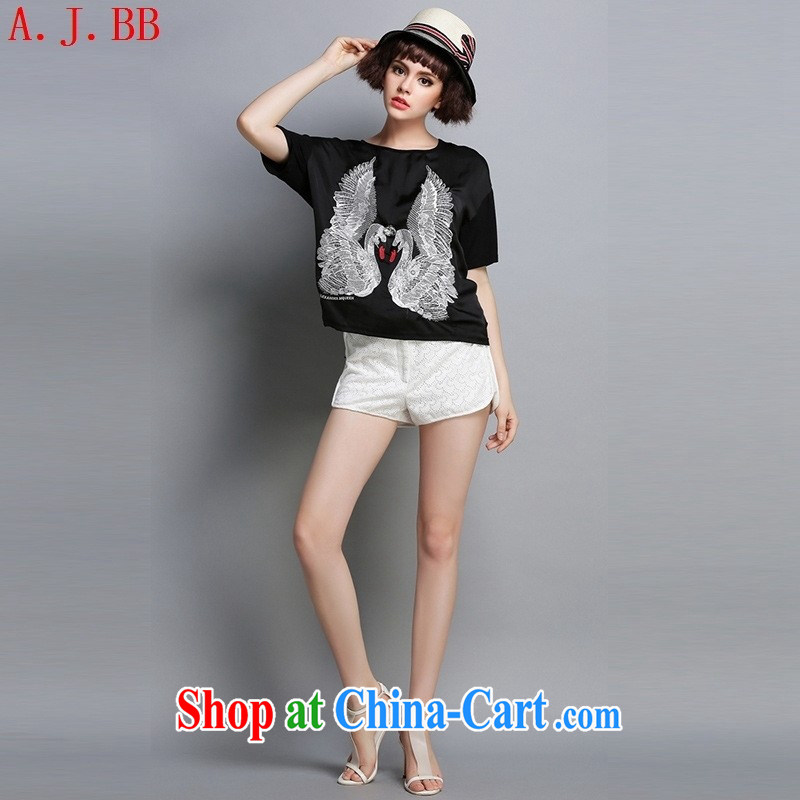 Black butterfly European site women summer 2015 new European embroidery stylish silk T shirts, T-shirts T Map Color XL