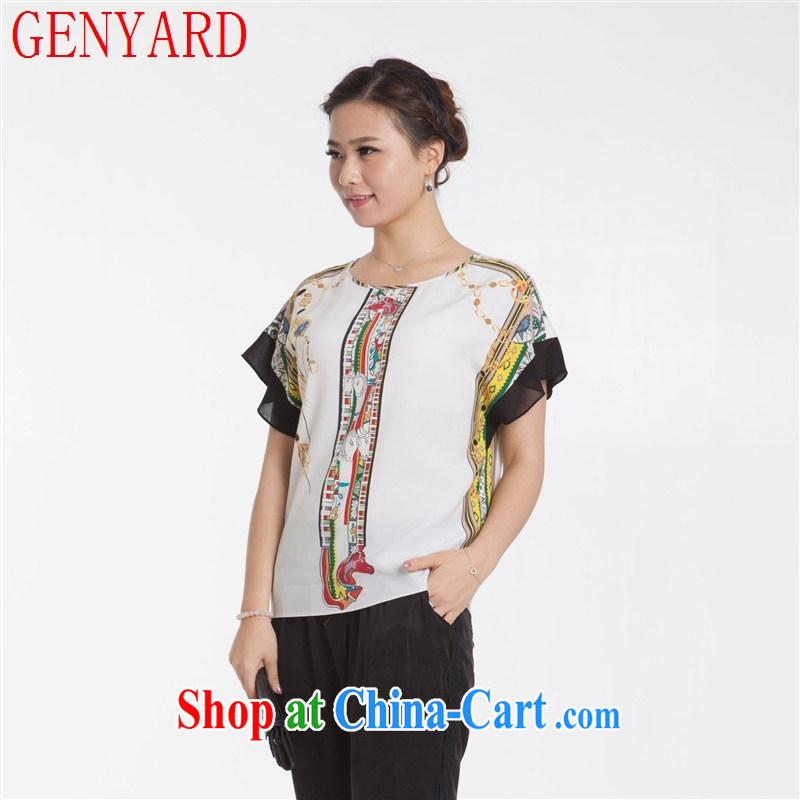 Qin Qing store new silk dress short-sleeved shirt T bat cuffs, sauna silk short-sleeved T shirt T-shirt blue XXXL