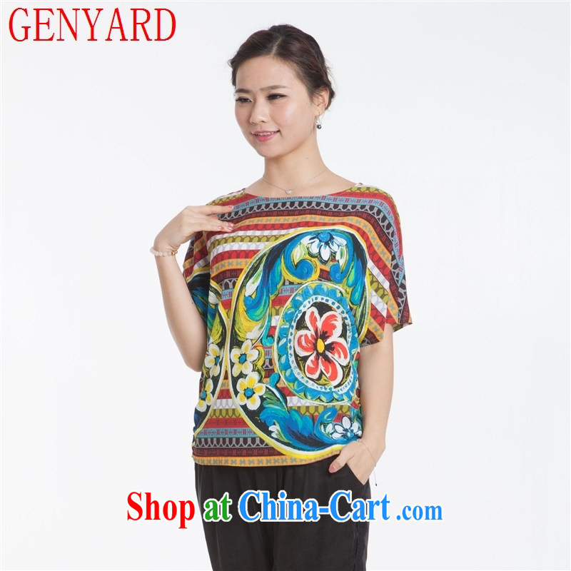 Qin Qing Store New, Old silk dress short sleeved shirt T silk lycra in the older blouses blue XXXL