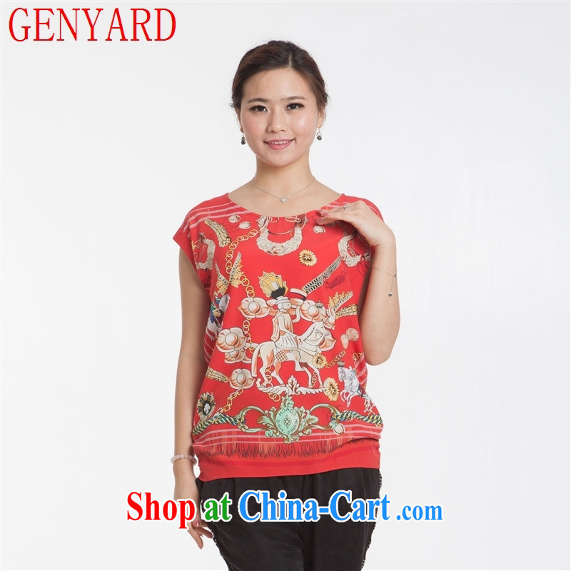 Qin Qing Store New, Old silk dress short sleeved shirt T fine stamp leisure silk blouses red XXXL