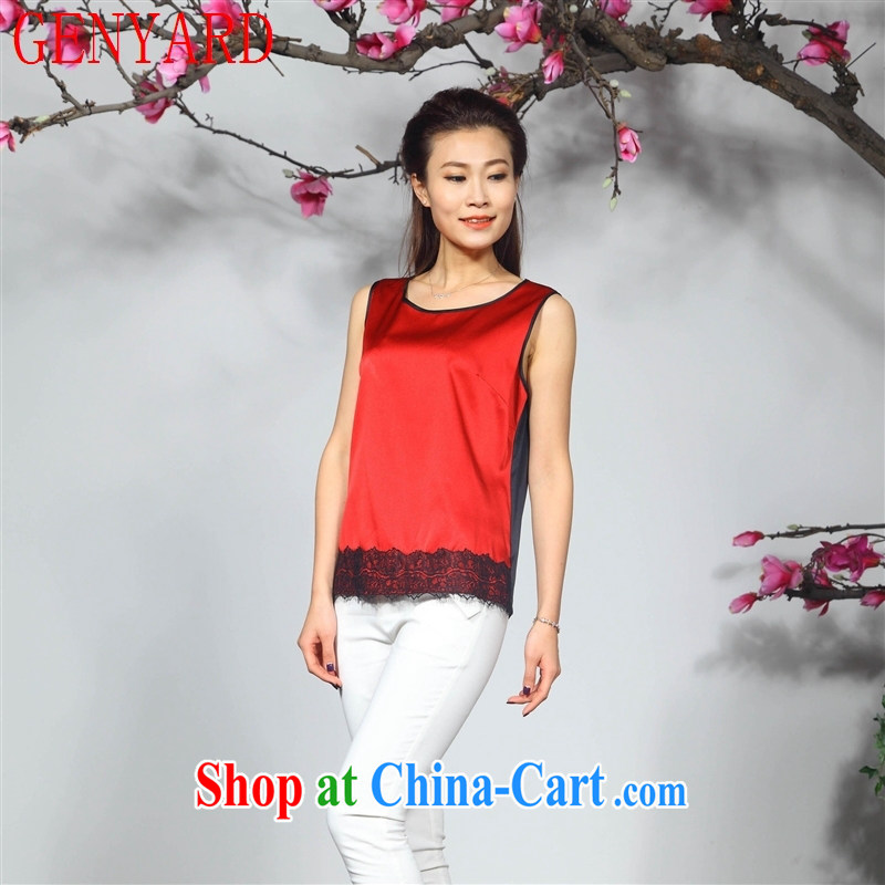 Qin Qing store new silk dress Sleeveless T pension two-color stitching lace bottom silk T-shirt T-shirt new female orange XXXL