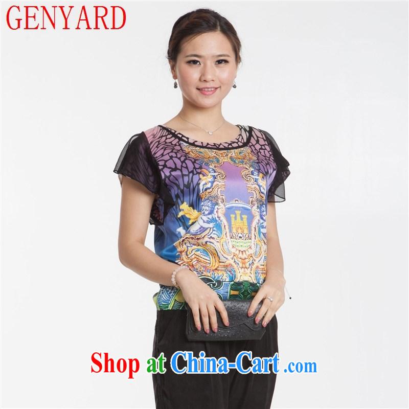 Qin Qing store new, Mr Ronald ARCULLI, the old silk dress short sleeved shirt T silk stretch Satin female fine stamp T-shirt blue XXXL