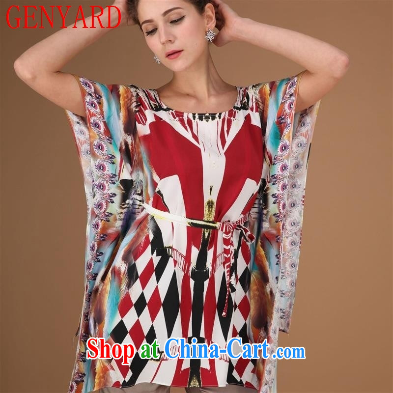 Qin Qing store new silk dress short sleeved shirt T older silk dress short-sleeved sauna silk blue XXXL