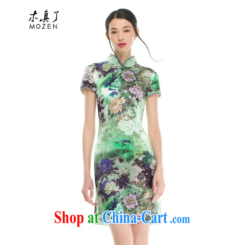 Wood is really the female 2015 spring and summer New Silk poster stamp short flag facade flowers classic qipao 21,906 15 green XXXL