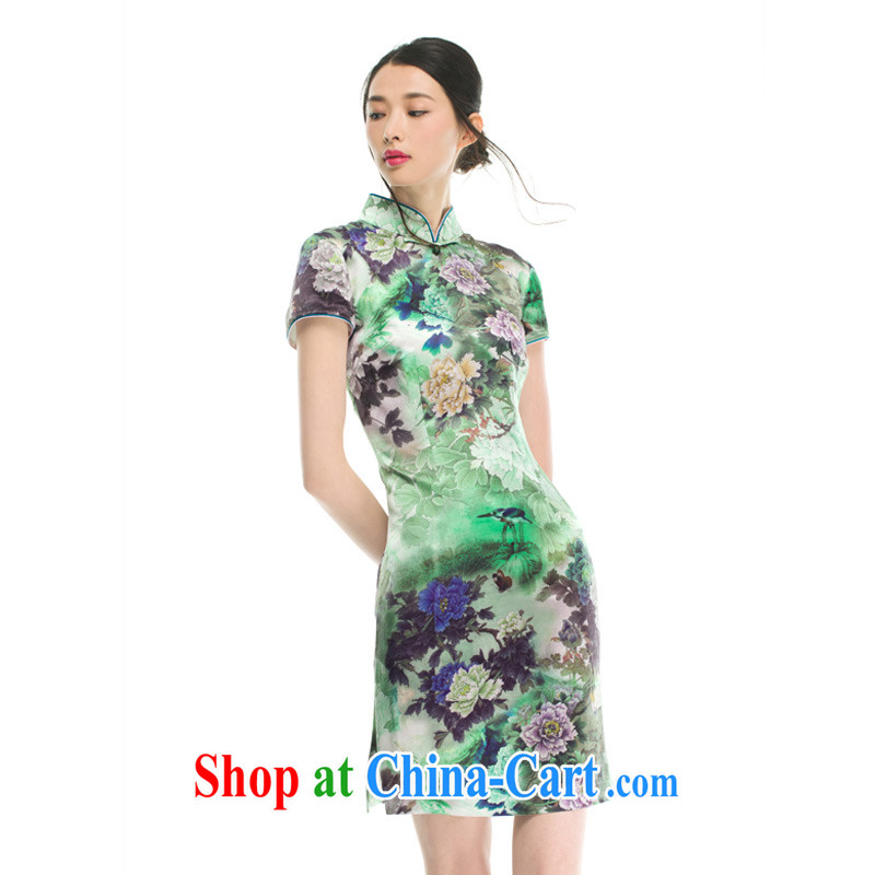 Wood is really the female 2015 spring and summer New Silk poster stamp duty short flag facade flowers classic qipao 21,906 15 green XXXL, wood really has, online shopping