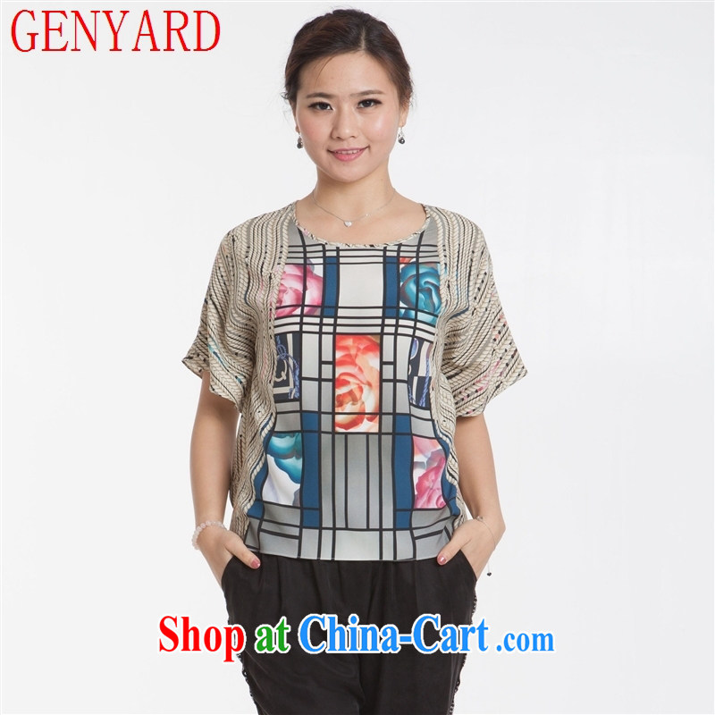 Qin Qing Store New, Old Silk blouses female bats, T-shirt, older women summer New Silk rope XXXL