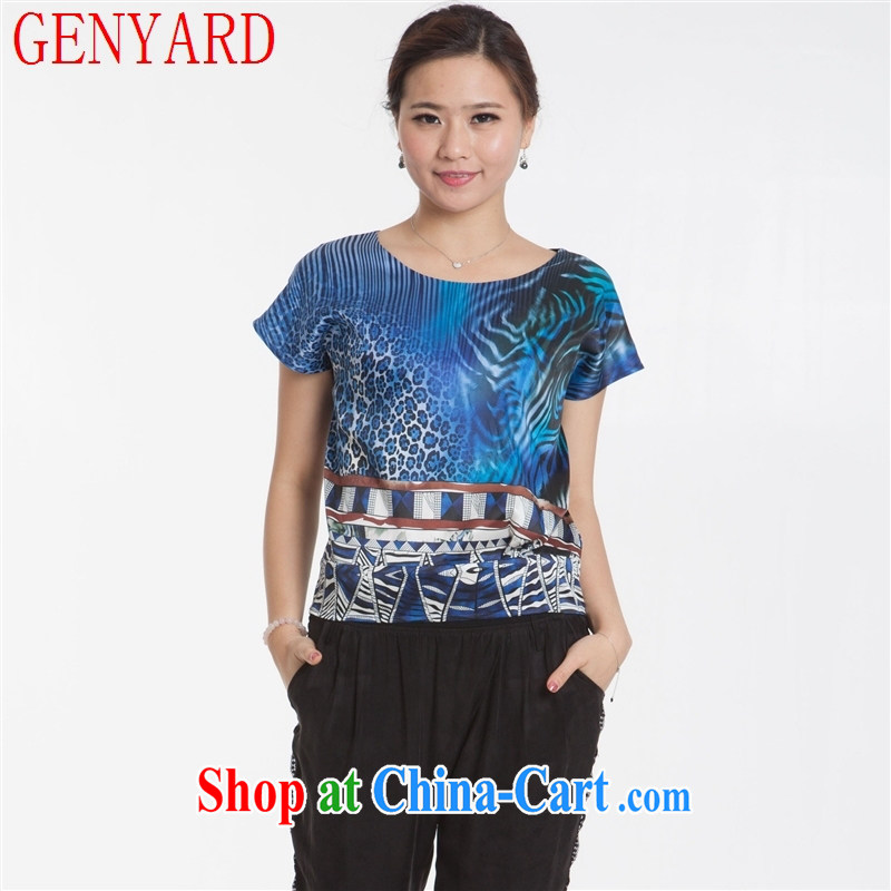 Qin Qing store new summer silk dress short-sleeved shirt T sauna silk fine stamp female T-shirt spots stamp XXXL