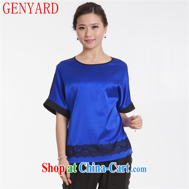 Qin Qing store new, middle-aged mother silk blouses stitching in T cuff shirt silk stretch Satin loose-edition T-shirt blue XXXL