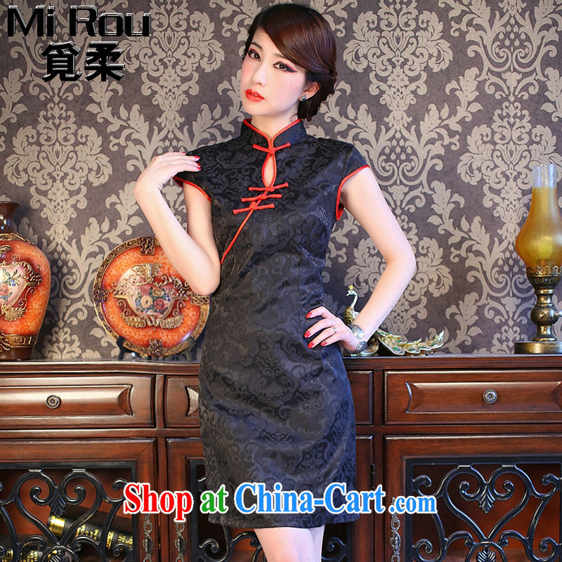 Find Sophie summer wear cheongsam dress new Ultra graphics thin retro short cheongsam small black skirt Chinese improved the collar cheongsam black 3 XL