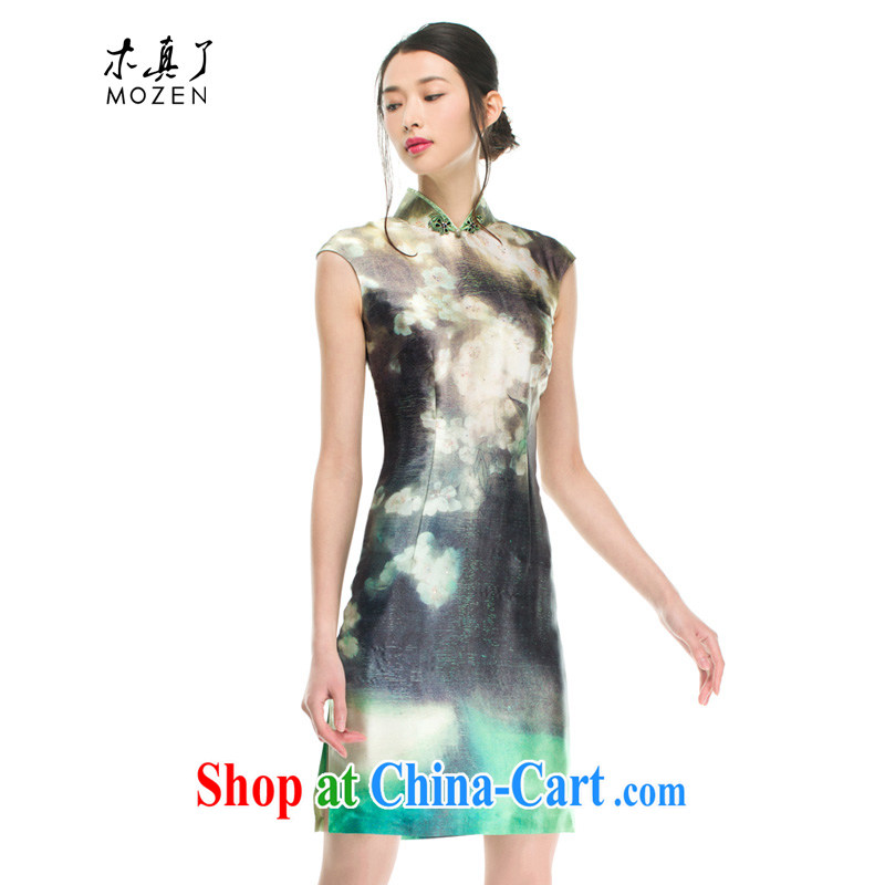 Wood is really the silk cheongsam dress summer 2015 new sauna silk poster cheongsam dress female 21,907 15 light green L