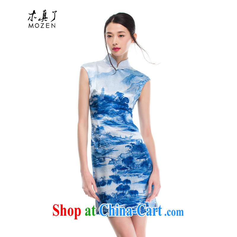 Wood is really a Chinese female landscape Silk Cheongsam Chinese style qipao dresses 2015 new summer 11 32,308 light blue XXL (A)