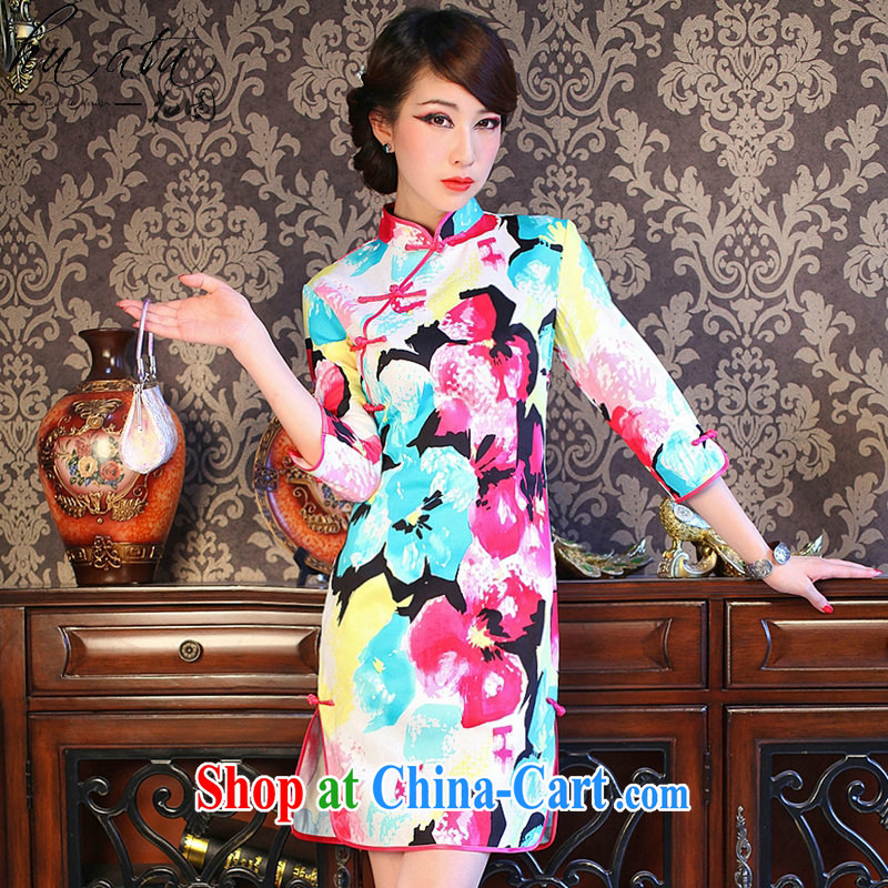 spend the summer new dresses girls decorated in colorful flowers, for improved retro prettier cuff in the forklift truck goods such as the color 2 XL