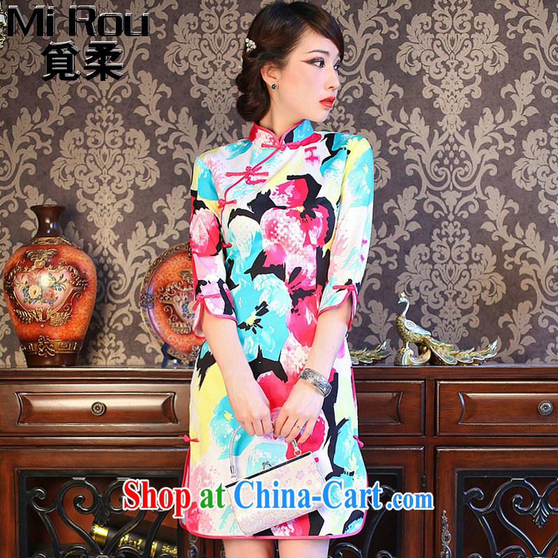 Find Sophie summer new dresses girls decorated in colorful flowers, for improved retro prettier cuff in the forklift truck goods such as the color 2 XL