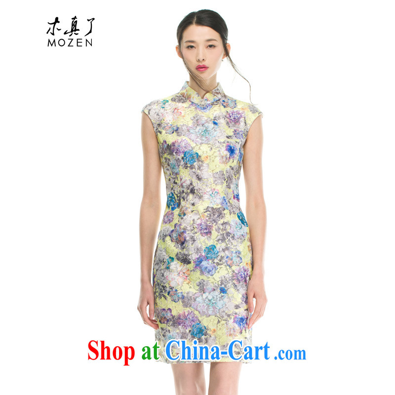 Wood is really an improved cheongsam dress new lace stamp cheongsam dress summer dress the root dresses 42,931 11 light blue XL