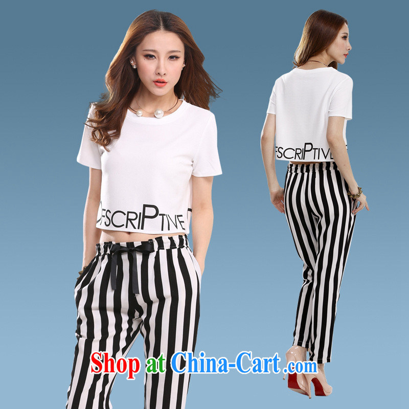 Ya-ting store 89,700 terrace cultivation umbilical cord with striped pants pencil-yi trousers summer pants sexy short-sleeved round neck white white black stripe L