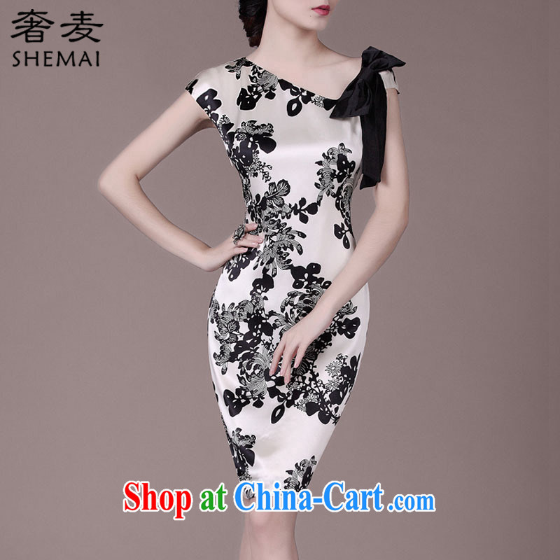 Extravagance Mak 2015 summer New Beauty video thin sauna Silk Cheongsam stamp women 8943 white 3XL
