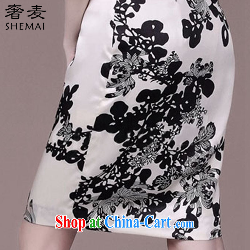 Mr Mak luxury 2015 summer New Beauty video thin sauna Silk Cheongsam stamp women 8943 white 3XL, extravagance, and, on-line shopping