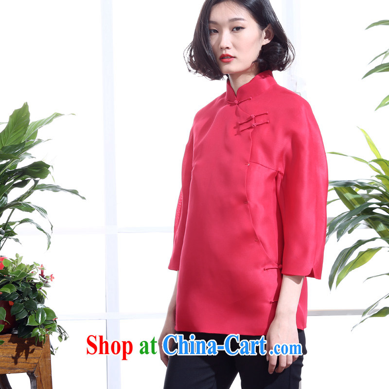 Summer 2015 New Silk European root by the improved Chinese style Chinese girl Chinese bows Service Bridal Dress Shirt 7 cuff red XL