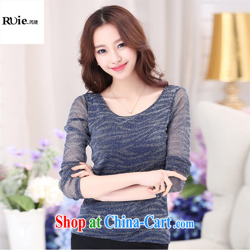 2015 spring and summer Korean female solid shirt cultivating Web yarn stamp round-collar long-sleeved female T shirts wholesale red - bubble cuff XXXL