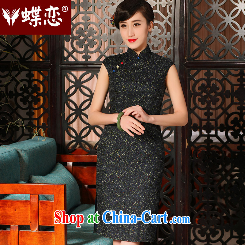 Butterfly Lovers 2015 spring and summer with new, improved style cheongsam dress daily retro floral cotton robes 54,228 floral XL