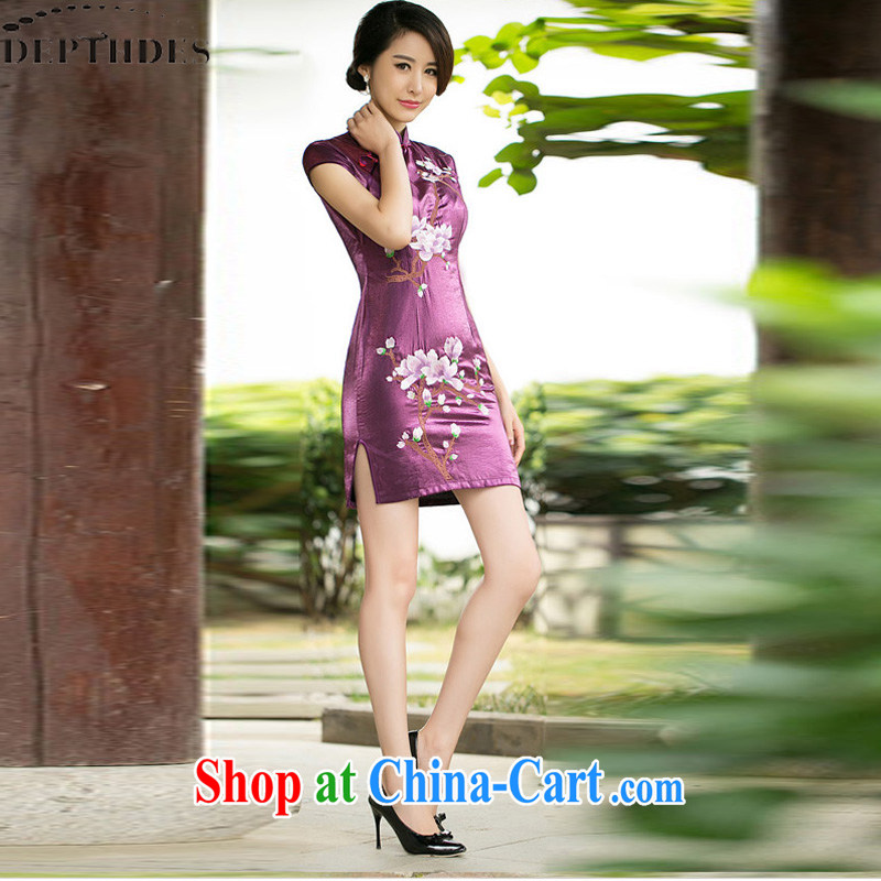 2015 DEPTHDES new female cheongsam dress summer improved stylish retro embroidered graphics thin, patterned, first-day cheongsam dress short picture color XXL