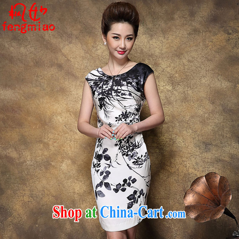 Feng Mya 2015 summer, new dresses high big silk stamp sauna Silk Cheongsam women 8942 white XXXL