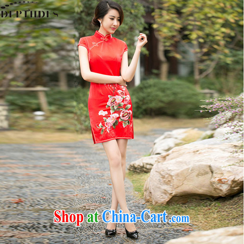 2015 DEPTHDES new women with bows Service Bridal wedding dress summer stylish improved embroidered graphics thin daily cheongsam dress short red XXL