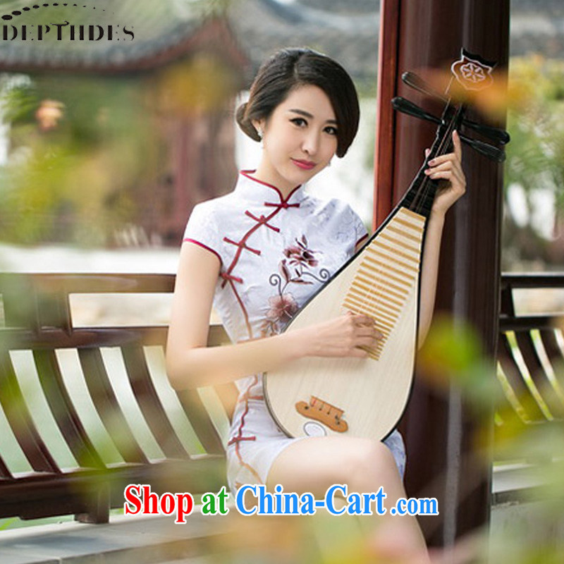 DEPTHDES 2015 summer new stylish daily suit embroidered elegance antique beauty, leading the charge-back cheongsam dress girl picture color XXL