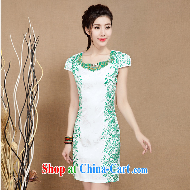 Water spirit seed 2015 new summer improved daily short-sleeved ethnic wind cheongsam dress dresses Evening Dress female Green XXL