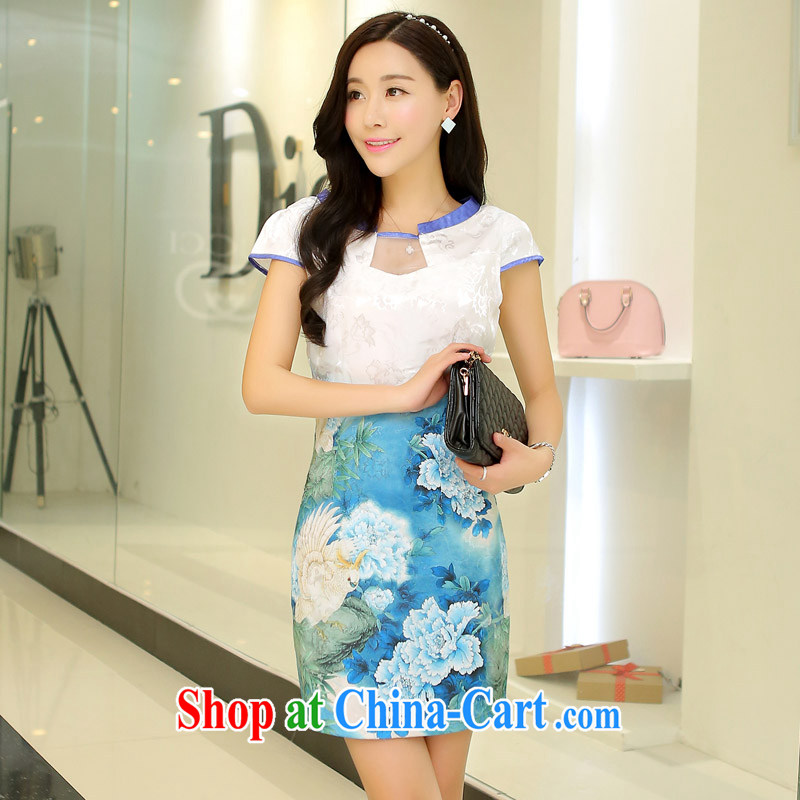 Korean edition 2015 summer new cultivating classical charm lady embroidery stamp Tang pack and cheongsam dress girls light blue Peony XL