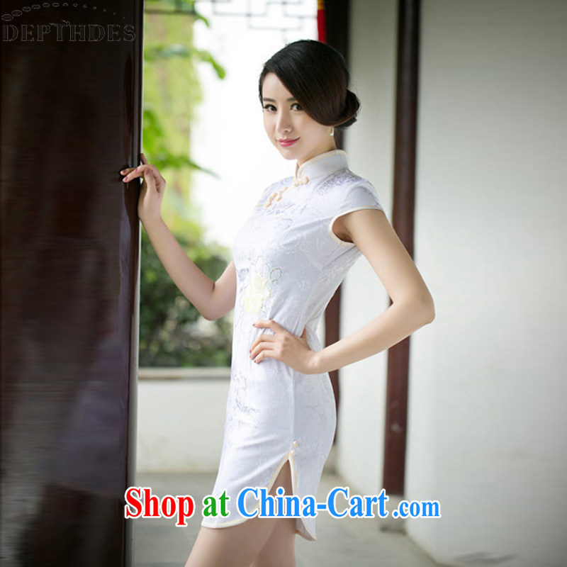 DEPTHDES 2015 summer new stylish daily embroidered improved antique Chinese small, for cultivating jacquard cotton cheongsam dress dresses short white XXL