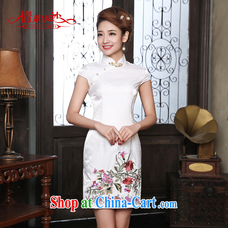 The china yarn dresses 2015 new spring and summer with daily short retro dresses improved cultivation cotton dress stylish girls white XXL